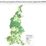 Los círculos coloreados corresponden a los proyectos hidroeléctricos posibles para la cuenca del río Tapajós. El color indica el grado de impacto que tendrá cada uno, desde muy alto (rojo oscuro) hasta bajo (amarillo). Crédito: Cortesía WWF.